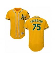 Men's Oakland Athletics #75 James Kaprielian Gold Alternate Flex Base Authentic Collection Baseball Player Jersey
