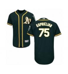 Men's Oakland Athletics #75 James Kaprielian Green Alternate Flex Base Authentic Collection Baseball Player Jersey