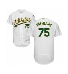 Men's Oakland Athletics #75 James Kaprielian White Home Flex Base Authentic Collection Baseball Player Jersey