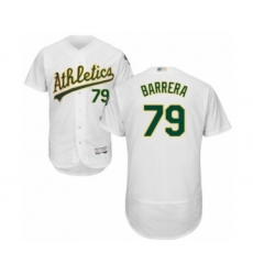 Men's Oakland Athletics #79 Luis Barrera White Home Flex Base Authentic Collection Baseball Player Jersey