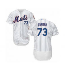 Men's New York Mets #73 Daniel Zamora White Home Flex Base Authentic Collection Baseball Player Jersey
