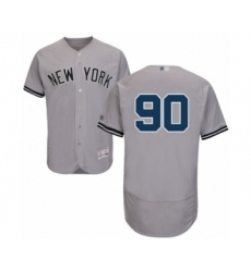 Men's New York Yankees #90 Thairo Estrada Grey Road Flex Base Authentic Collection Baseball Player Jersey