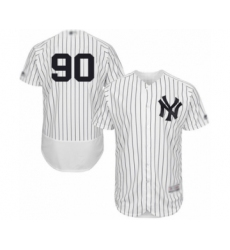 Men's New York Yankees #90 Thairo Estrada White Home Flex Base Authentic Collection Baseball Player Jersey