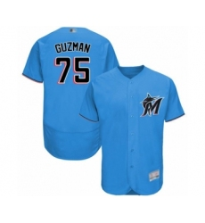 Men's Miami Marlins #75 Jorge Guzman Blue Alternate Flex Base Authentic Collection Baseball Player Jersey
