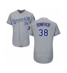 Men's Kansas City Royals #38 Jorge Bonifacio Grey Road Flex Base Authentic Collection Baseball Player Jersey