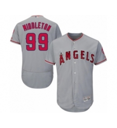 Men's Los Angeles Angels of Anaheim #99 Keynan Middleton Grey Road Flex Base Authentic Collection Baseball Player Jersey