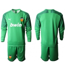 Valencia Blank Green Goalkeeper Long Sleeves Soccer Club Jersey