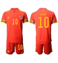 Wales #10 Ramsey Red Home Soccer Club Jersey
