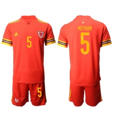 Wales #5 Mepham Red Home Soccer Club Jersey
