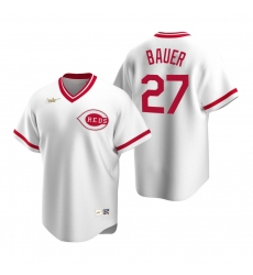 Men's Nike Cincinnati Reds #27 Trevor Bauer White Cooperstown Collection Home Stitched Baseball Jersey
