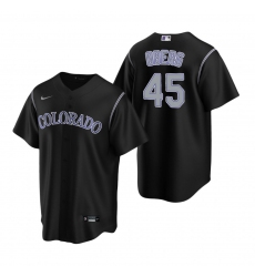 Men's Nike Colorado Rockies #45 Scott Oberg Black Alternate Stitched Baseball Jersey