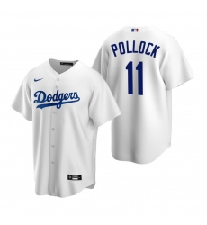 Men's Nike Los Angeles Dodgers #11 A.J. Pollock White Home Stitched Baseball Jersey
