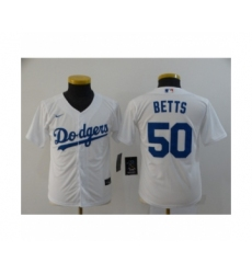 Youth Los Angeles Dodgers #50 Mookie Betts White 2020 Cool Base Jersey