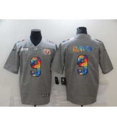 Men's Cincinnati Bengals #9 Joe Burrow Gray Rainbow Version Nike Limited Jersey