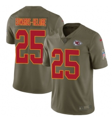 Men's Kansas City Chiefs #25 Clyde Edwards-Helaire Olive Stitched Limited 2017 Salute To Service Jersey