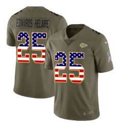 Men's Kansas City Chiefs #25 Clyde Edwards-Helaire Olive USA Flag Stitched Limited 2017 Salute To Service Jersey