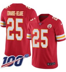 Men's Kansas City Chiefs #25 Clyde Edwards-Helaire Red Team Color Stitched 100th Season Vapor Untouchable Limited Jersey