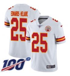Men's Kansas City Chiefs #25 Clyde Edwards-Helaire White Stitched 100th Season Vapor Untouchable Limited Jersey
