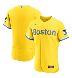 Men's Boston Red Sox Nike Blank Gold-Light Blue 2021 City Connect Jersey