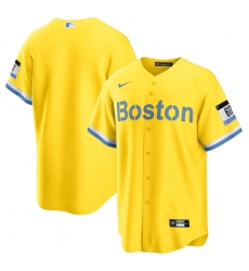 Men's Boston Red Sox Nike Blank Gold-Light Blue 2021 City Connect Replica Jersey