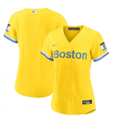 Women's Boston Red Sox Blank Nike Gold-Light Blue 2021 City Connect Replica Jersey