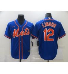 Men's Nike New York Mets #12 Francisco Lindor Blue Jersey