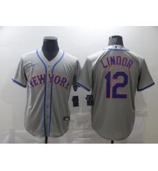 Men's Nike New York Mets #12 Francisco Lindor Gray Jersey