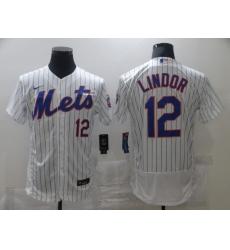 Men's Nike New York Mets #12 Francisco Lindor White Elite Jersey