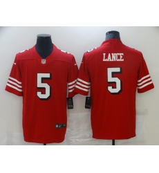 Men's San Francisco 49ers #5 Trey Lance Red Nike Scarlet Player Limited Jersey