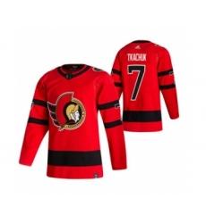 Men's Ottawa Senators #7 Brady Tkachuk Red 2020-21 Reverse Retro Alternate Hockey Jersey
