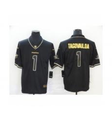 Men's Miami Dolphins #1 Tua Tagovailoa 2020 Limited Black Golden Edition Football Jersey