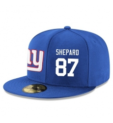 NFL New York Giants #87 Sterling Shepard Stitched Snapback Adjustable Player Hat - Blue/White