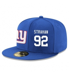 NFL New York Giants #92 Michael Strahan Stitched Snapback Adjustable Player Hat - Blue/White