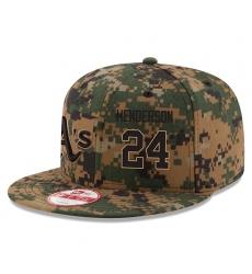MLB Men's Oakland Athletics #24 Rickey Henderson New Era Digital Camo 2016 Memorial Day 9FIFTY Snapback Adjustable Hat