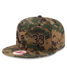 MLB Men's Oakland Athletics #33 Jose Canseco New Era Digital Camo 2016 Memorial Day 9FIFTY Snapback Adjustable Hat