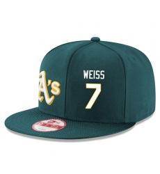 MLB Men's Oakland Athletics #7 Walt Weiss Stitched New Era Snapback Adjustable Player Hat - Green/White