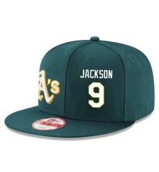 MLB Men's Oakland Athletics #9 Reggie Jackson Stitched New Era Snapback Adjustable Player Hat - Green/White