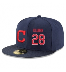 MLB Majestic Cleveland Indians #28 Corey Kluber Snapback Adjustable Player Hat - Navy/Red