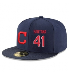 MLB Majestic Cleveland Indians #41 Carlos Santana Snapback Adjustable Player Hat - Navy/Red