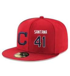 MLB Majestic Cleveland Indians #41 Carlos Santana Snapback Adjustable Player Hat - Red/Navy