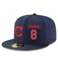 MLB Majestic Cleveland Indians #8 Lonnie Chisenhall Snapback Adjustable Player Hat - Navy/Red