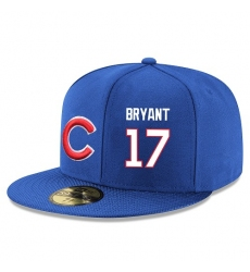 MLB Majestic Chicago Cubs #17 Kris Bryant Snapback Adjustable Player Hat - Royal Blue/White