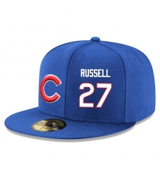 MLB Majestic Chicago Cubs #27 Addison Russell Snapback Adjustable Player Hat - Royal Blue/White