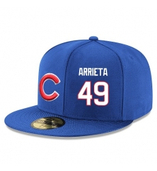 MLB Majestic Chicago Cubs #49 Jake Arrieta Snapback Adjustable Player Hat - Royal Blue/White