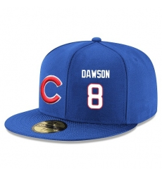 MLB Majestic Chicago Cubs #8 Andre Dawson Snapback Adjustable Player Hat - Royal Blue/White