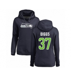 Football Women's Seattle Seahawks #37 Quandre Diggs Navy Blue Name & Number Logo Pullover Hoodie