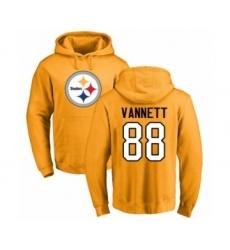 Pittsburgh Steelers #88 Nick Vannett Gold Name & Number Logo Pullover Hoodie