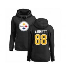 Women's Pittsburgh Steelers #88 Nick Vannett Black Name & Number Logo Pullover Hoodie