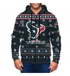 Texans Team Christmas Ugly Men's Zip Hooded Sweatshirt
