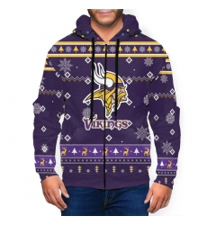 Vikings Team Christmas Ugly Men's Zip Hooded Sweatshirt